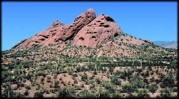 One of the Papago Buttes as seen from the Desert Botanical Garden in Phoenix, Arizona, looking northwest.