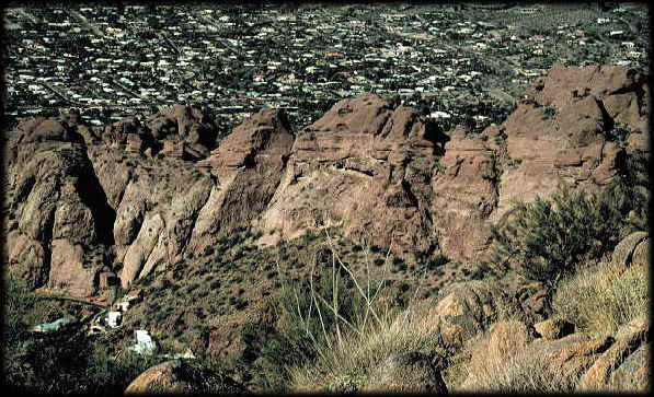 Looking down at the Camel's Head Formation on Camelback Mountain, in Paradise Valley, Arizona.