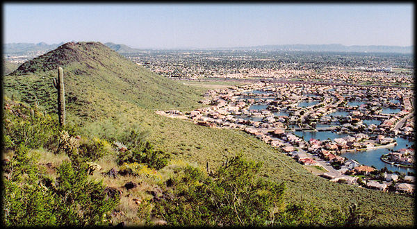 View from the summit of the Hedgpeth Hills, in Phoenix and Glendale, Arizona, looking southeast.