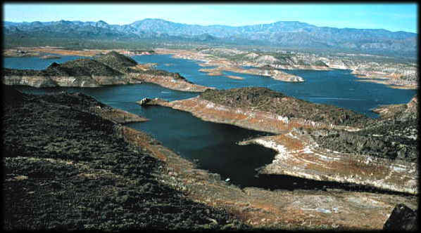 Lake Pleasant, looking northwest towards the Hieroglyphic Mountains and Bradshaw Mountains.