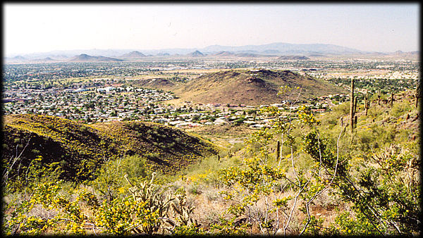 Picturesque Moon Hill, looking northwest, from Shaw Butte, near Moon Valley, in Phoenix, Arizona.
