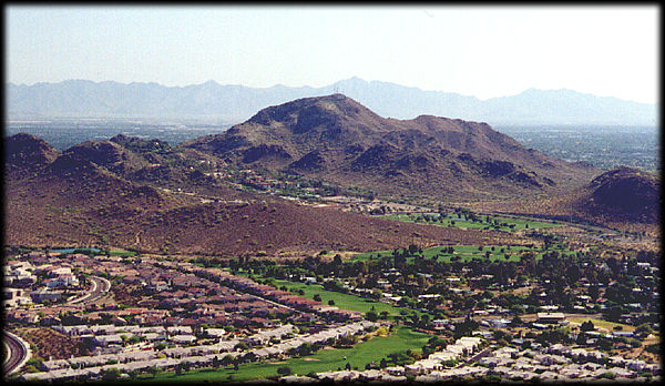North Mountain, from Lookout Mountain, in Phoenix, Arizona, looking SW.