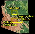 Arizona, and the locations of Sedona, Valley of the Sun, and the Superstition Mountains Virtual Tour Maps.