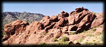Sandstone and conglomerate formations on Camelback Mountain, Phoenix, Arizona.