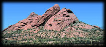 Tilted red beds in the Papago Buttes, in Phoenix, Arizona.