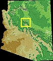 Location map for Sedona and the Verde Valley, in northern Arizona.
